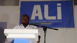 Le président gabonais Ali Bongo lors d'un meeting de campagne le 28 août 2016 à Libreville.