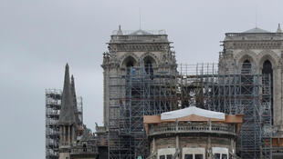 General view shows the Notre Dame Cathedral, as works continue to stabilise the cathedral's structure nine months after a fire caused significant damage, in Paris, France, December 23, 2019.
