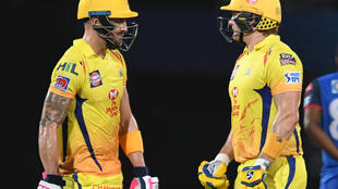 Old guard: Chennai Super Kings Shane Watson (right) and Faf du Plessis enjoyed a record unbeaten opening stand Sunday