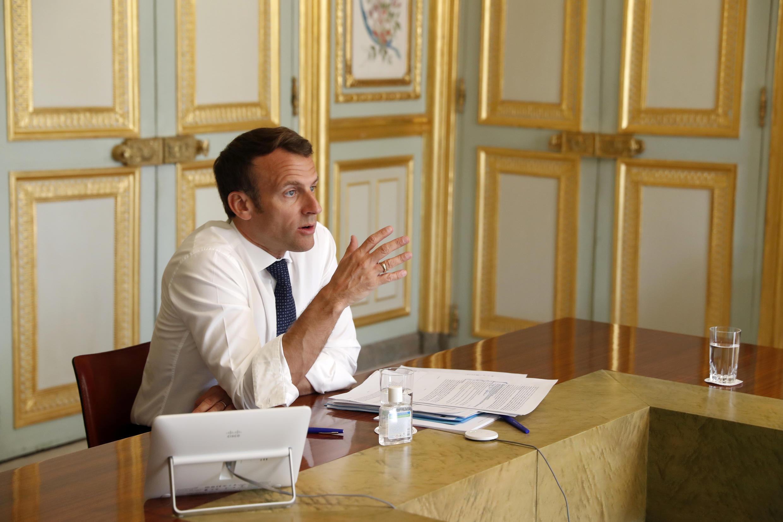 Emmanuel Macron en el Palacio del Elíseo el 16 de abril de 2020.