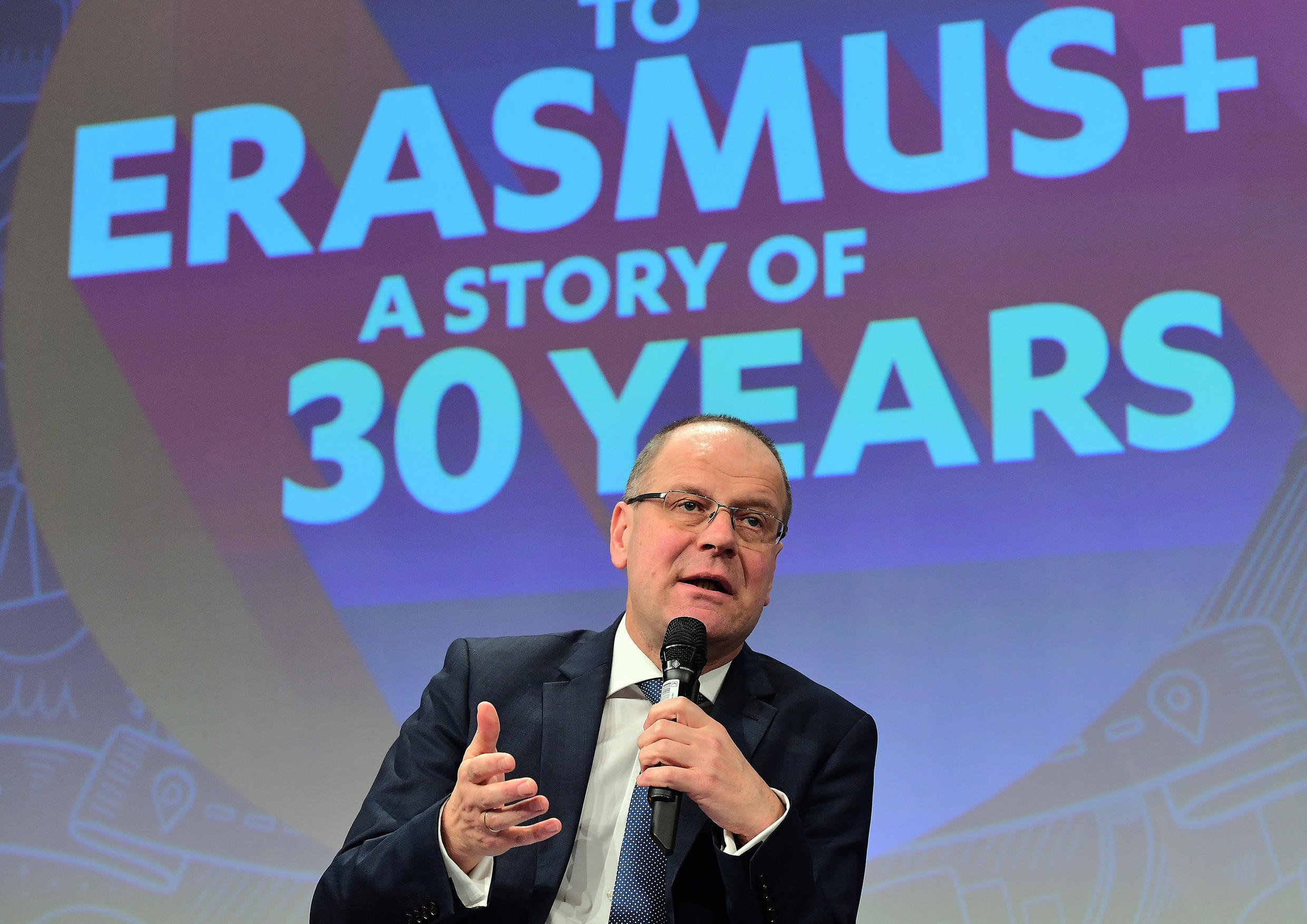 European Commissioner for Education, Culture, Youth and Sport Tibor Navracsics addresses a press conference on the 30th anniversary of the Erasmus programme, at the European Commission in Brussels on January 26, 2017.