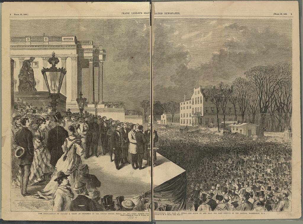 حفل تنصيب يوليس غرانت في واشنطن، في 4 مارس/آذار 1869.