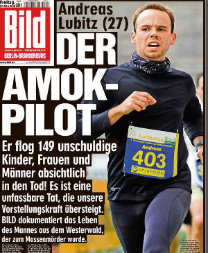 The front page of German daily Bild on Friday