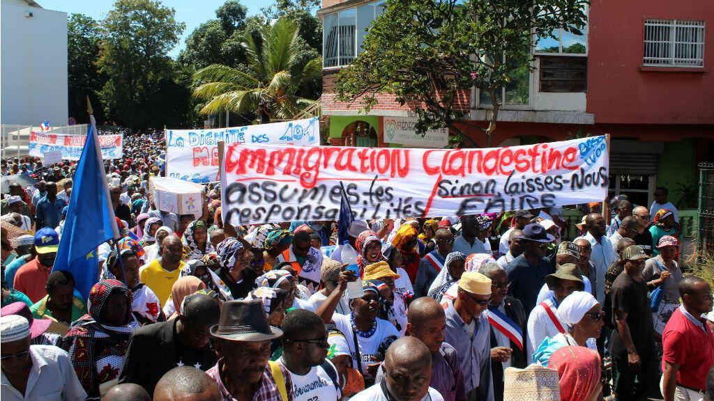 Manifestation à Mamoudzou, à Mayotte, le 10 mai 2018.