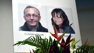 Une affiche en l'hommage de Ghislaine Dupont et Claude Verlon, disparus au Mali en 2013.