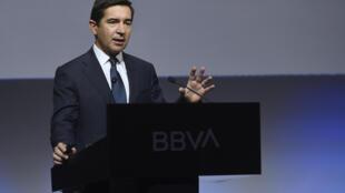El presidente del BBVA, Carlos Torres Vila, habla durante la presentación de los resultados anuales de 2019, el 31 de enero de 2020 en Madrid