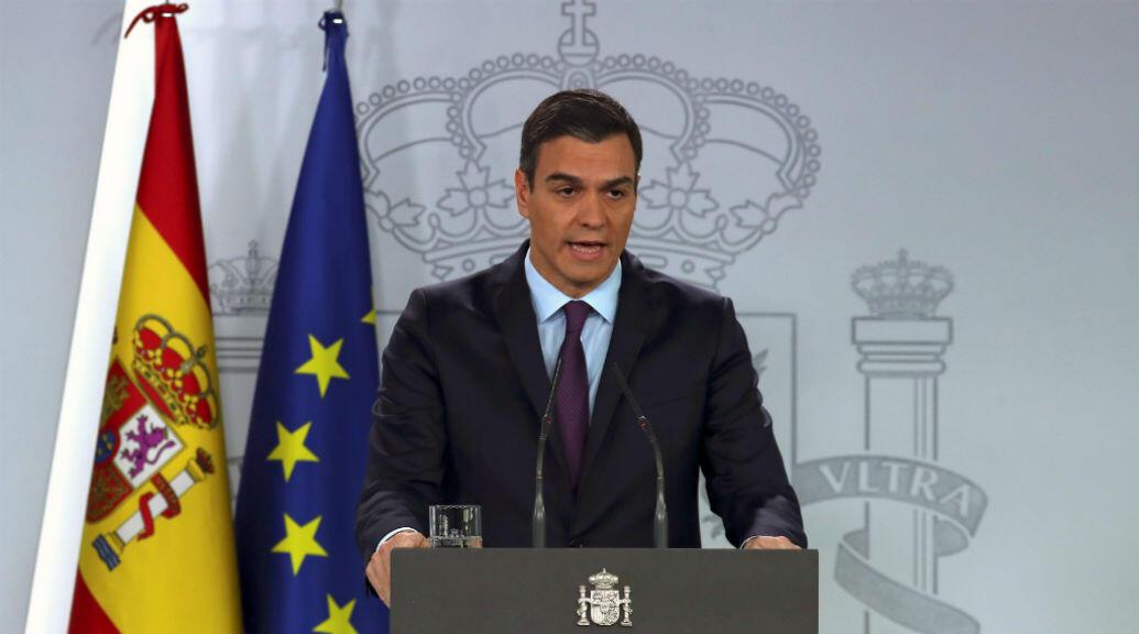 Archivo- El presidente del gobierno español, Pedro Sánchez, ofrece una rueda de prensa en el Palacio la Moncloa, el 4 de febrero de 2019.