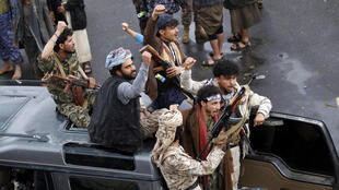 Yemeni Huthi rebels take part in a demonstration in Sanaa on January 6, 2020