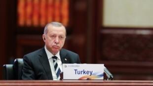 الرئيس التركي رجب طيب أردوغان في منتدى في بكين الاثنين 15 أيار/مايو 2017