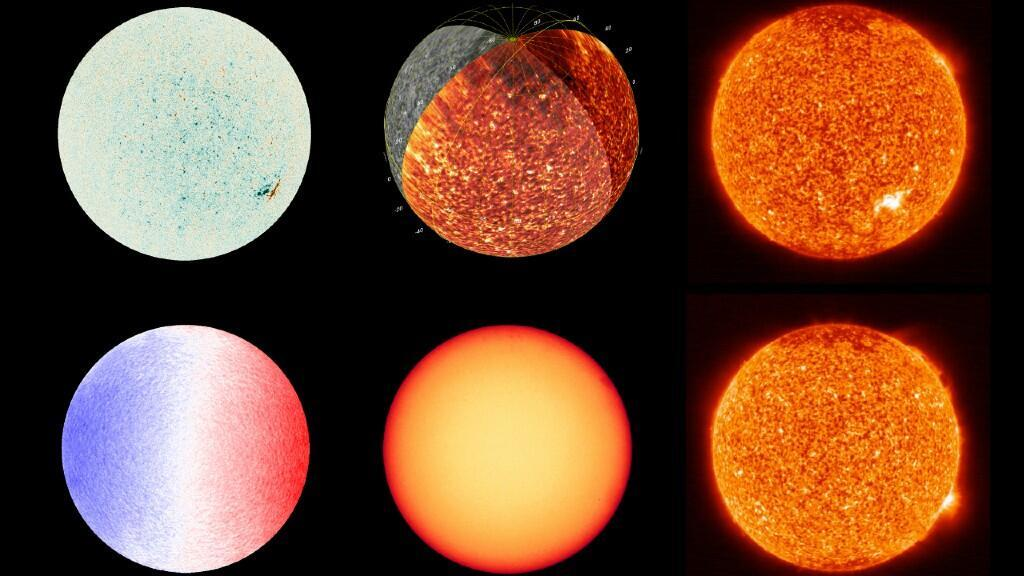 Varias imágenes del sol tomadas por la sonda Solar Orbiter a lo largo de su misión.