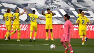 L'attaquant hondurien de Cadix, Anthony Lozano (4e g), buteur lors du match de Liga face au Real Madrid, à Valdebebas, le 17 octobre 2020