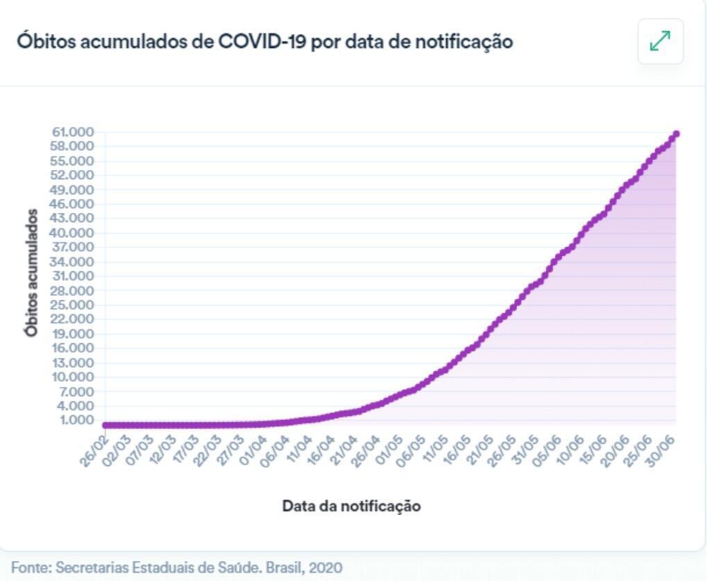 Captura de pantalla de las cifras sobre muertes reportadas por el Ministerio de Salud de Brasil, el 1 de julio de 2020.