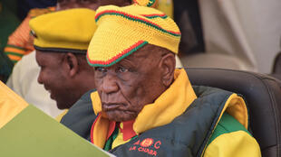 Prime Minister Thomas Thabane, seen here at a political rally in March, has announced his resignation after months of political uncertainty