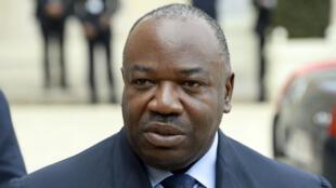 Ali Bongo Ondimba lors de sa visite au palais de l'Élysée, le 8 avril 2014.