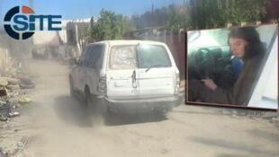 """صورة من فيديو لتنظيم """"الدولة الإسلامية"""" تظهر شاحنة وإلى جانبها صورة شاب سينفذ هجوما انتحاريا"""