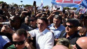 El candidato presidencial de Brasil, Jair Bolsonaro, durante un acto político en Brasilia,el 5 de septiembre de 2018.