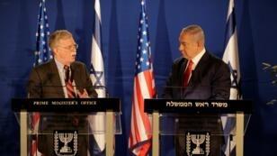 جون بولتون إلى جانب بنيامين نتانياهو في القدس 2019/01/06