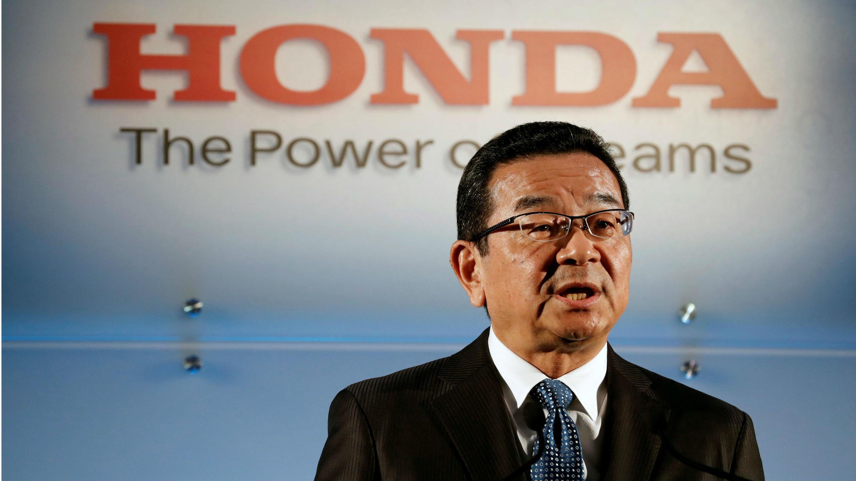 Takahiro Hachigo, presidente y CEO de Honda Motors, en la conferencia de prensa este 19 de febrero de 2019 en Tokio, Japón