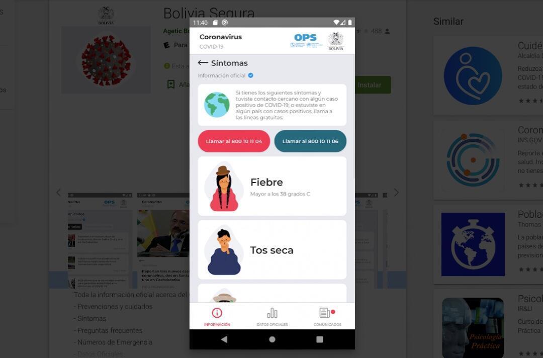 Vista de una de las opciones ofrecidas por la app Bolivia Segura.