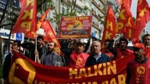 تظاهرة في ساحة تقسيم في إسطنبول في 1 أيار/مايو 2017