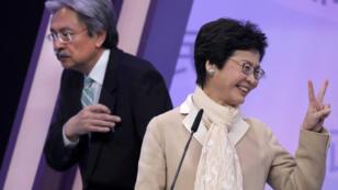 Carrie Lam lors d'un débat télévisé de campagne électorale, à Hong Kong, le 14 mars 2017.