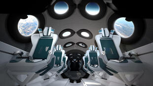A rendering of the planned interior of the Virgin Galactic spacecraft, published by the company