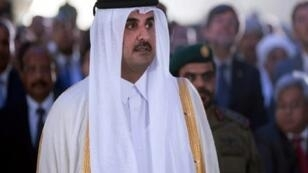 أمير قطر الشيخ تميم بن حمد آل ثاني خلال حضوره افتتاح ميناء حمد في الدوحة 5 أيلول/سبتمبر 2017
