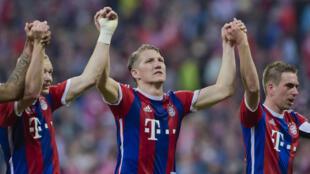 Bastian Schweinsteiger et ses coéquipiers du Bayern Munich célèbrent le titre.
