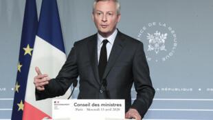 Le ministre de l'Economie Bruno Le Maire, le 15 avril 2020 à Paris