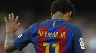 Le Brésilien Neymar, sous le maillot de son ancien club, le FC Barcelone.