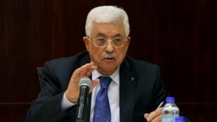Mahmoud Abbas s'est exprimé, dimanche 5 avril, à Ramallah, où se trouve le siège de l'Autorité palestinienne.