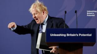 رئيس الوزراء البريطاني بوريس جونسون بعد كلمة حدد فيها الخطوط العريضة للمفاوضات مع الاتحاد الأوروبي. 03/02/2020