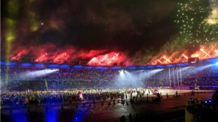 Un espectáculo de fuegos pirotécnicos hizo parte del acto de clausura de los XXIII Juegos Centroamericanos y del Caribe en Barranquilla, Colombia, el 3 de agosto de 2018.