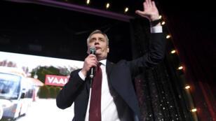 زعيم الحزب الاشتراكي الديمقراطي في فنلندا  أنتي ريني يحتفل بالفوز - 14 أبريل/نيسان 2019