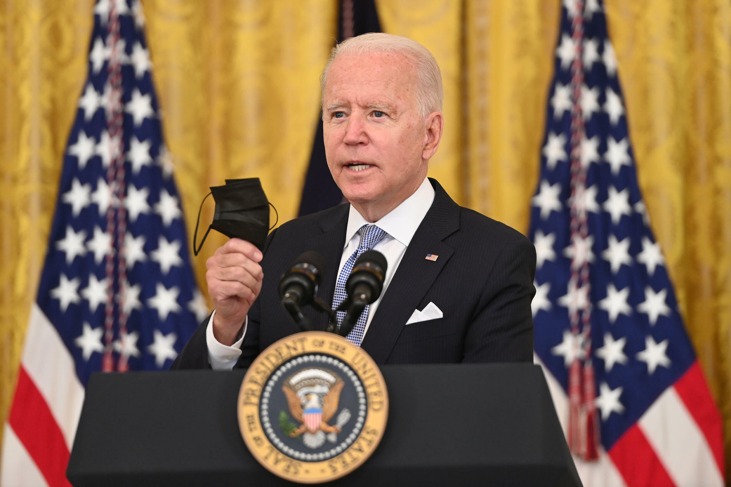 US President Joe Biden speaks about Covid-19 vaccinations at the White House