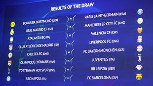 The big screen in Nyon, Switzerland, showing the results of the draw on December 16, 2019, for the last 16 of the Champions League.