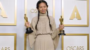 La réalisatrice et productrice Chloé Zhao lors de la cérémonie des Oscars, à Los Angeles, le 25 avril 2021