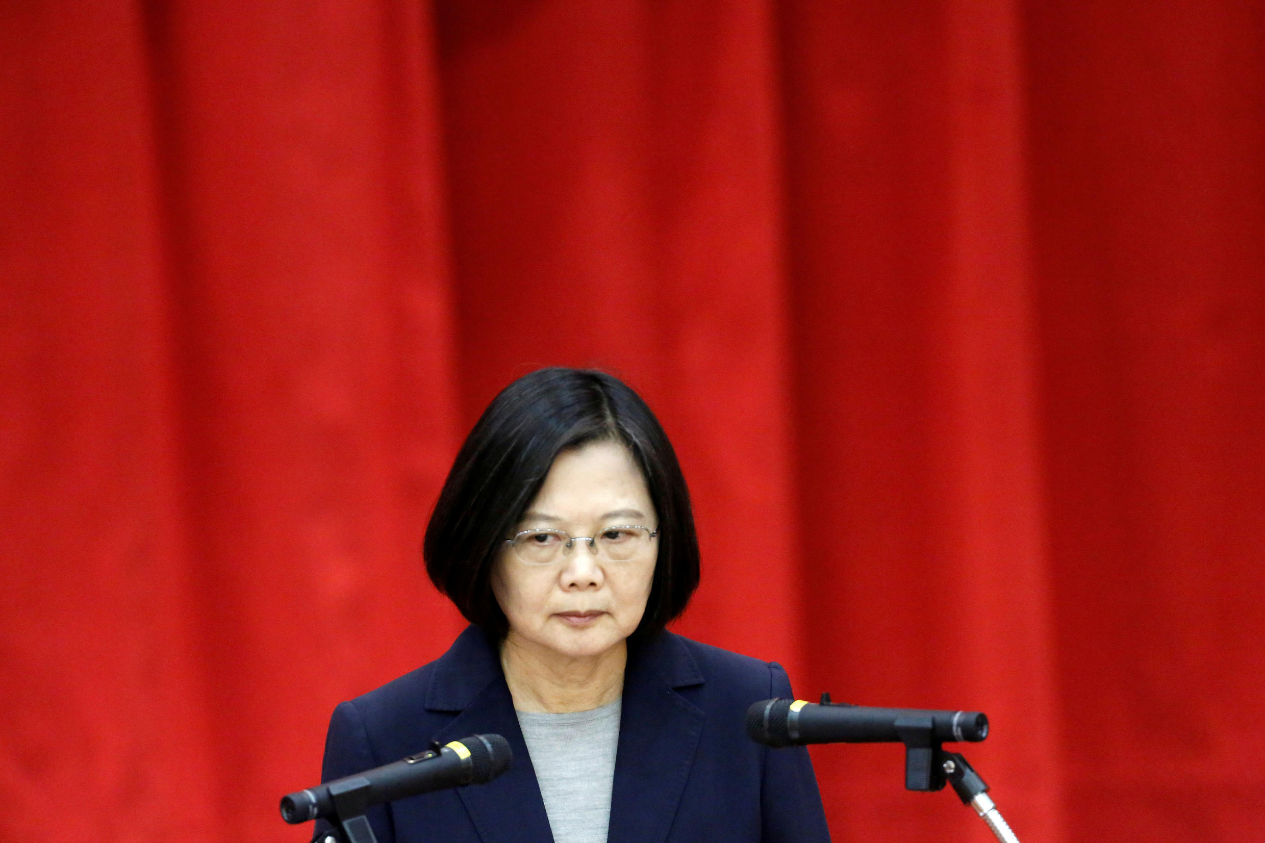 Taiwan's President Tsai Ing-wen speaks during a graduation ceremony for Investigation Bureau agents in New Taipei City, Taiwan on December 26, 2019.