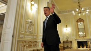 El presidente Santos se despide después de una entrevista con la agencia Reuters. 30/7/18