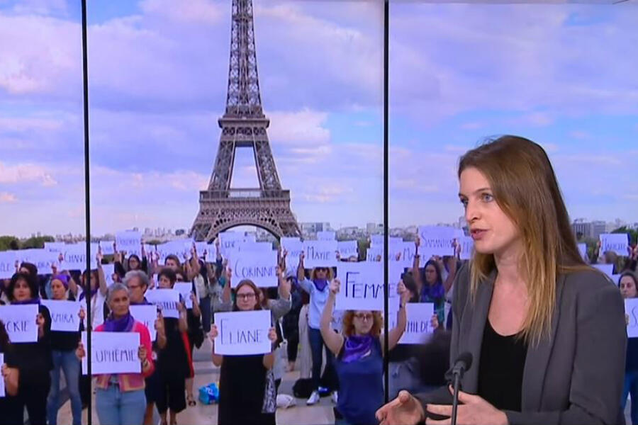 Women's rights activist Rebecca Amsellem on France 24 on November 25, 2019.