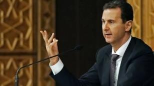صورة وزعتها وكالة الأنباء الرسمية للرئيس الأسد خلال اجتماع لقيادة حزب البعث في 7 تشرين الأول/أكتوبر 2018