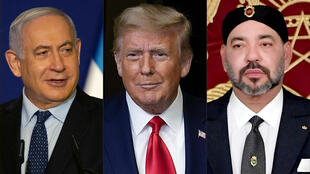 This combination of file pictures created on December 10, 2020 shows Israeli Prime Minister Benjamin Netanyahu (L), US President Donald Trump (C), and Morocco's King Mohammed VI
