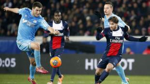 Le Paris Saint-Germain contre l'Olympique de Marseille, le 2 mars 2014 au Parc des Princes