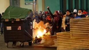 Defensores de la candidatura de Carlos Mesa protestan en La Paz por el sistema de recuento. 21 de octubre de 2019.