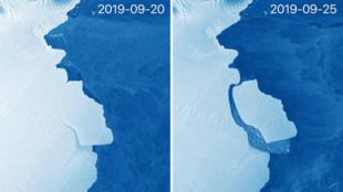 El iceberg D28 se separó cinco días después de una primera instantánea que capturó la grieta, en la Antártida, del 20 al 25 de septiembre.