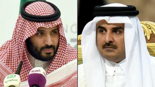 أمير قطر الشيخ تميم بن حمد آل ثاني (يمين) ولي العهد السعودي الأمير محمد بن سلمان (يسار)