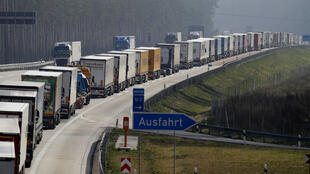 Trucks are stuck on a highway near Fuerstenwalde, southeast of Berlin and about 50 kilometres from the Polish border, on March 18, 2020, as Polish border authorities conducted strenuous health checks.
