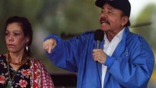 Daniel Ortega et sa femme Rosario Murillo le 7 juilet dernier.