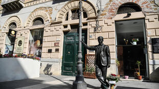 A statue of Camilleri's character Salvo Montalbano in the author's native Sicilian village Porto Empedocle