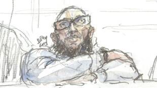 Dibujo de Abdelkader Merah en la corte de París el 25 de marzo de 2019.